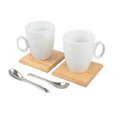 Чайный сервиз из 2-ух предметов, деревянные подставки