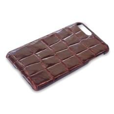 Коричневый чехол на iPhone 7 plus из кожи крокодила