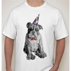 Мужская футболка Бульдог в праздничном колпаке