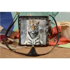 Женская сумка-планшет с принтом Сидящий тигр