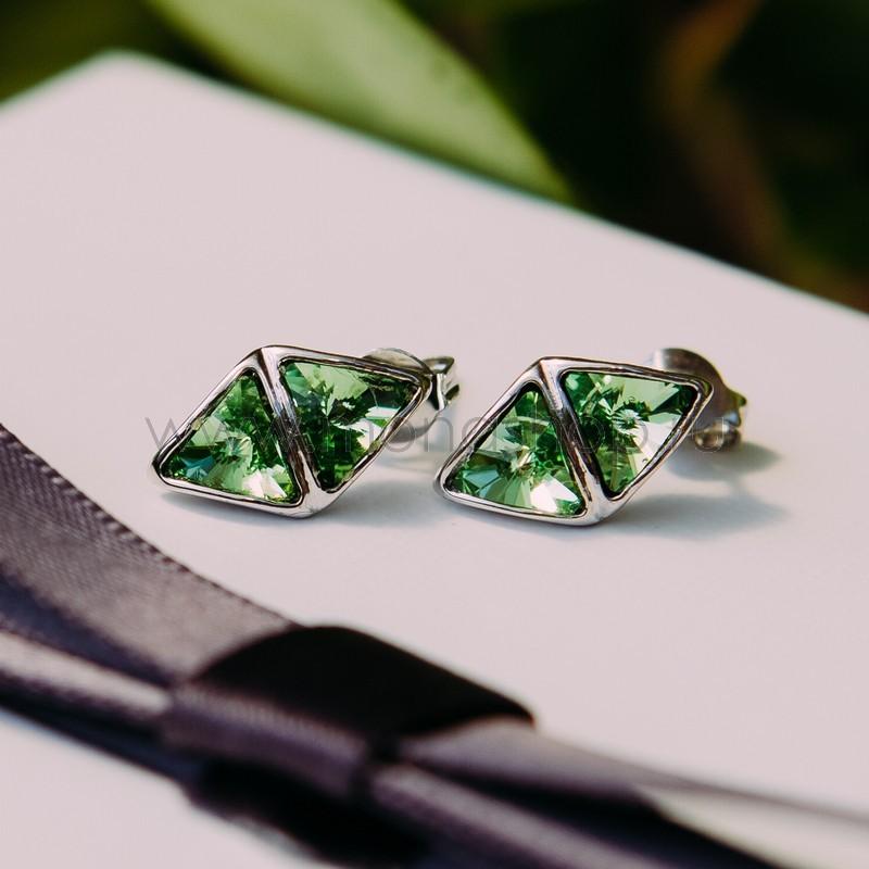 Серьги с зелеными кристаллами Сваровски «Отражение»