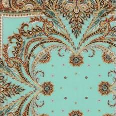 Шелковый павлопосадский платок Коралловый бриз
