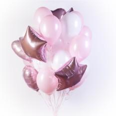 Букет белых и розовых шаров с сердечками и звездами