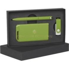 Зеленый прорезиненный набор в футляре