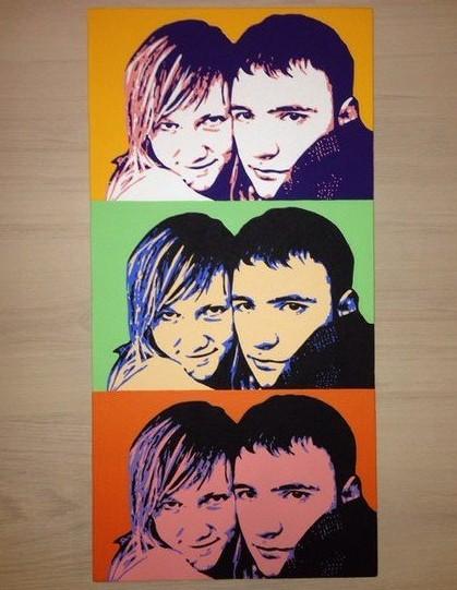 Комбинированный поп-арт портрет по фото 30х60 см (3 в 1)