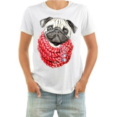 Мужская футболка Мопс в шарфе