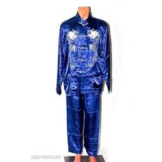 Синий атласный костюм ушу, цигун, кунг-фу