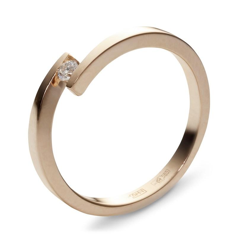 Помолвочное кольцо с 1 бриллиантом весом 0.06 карат