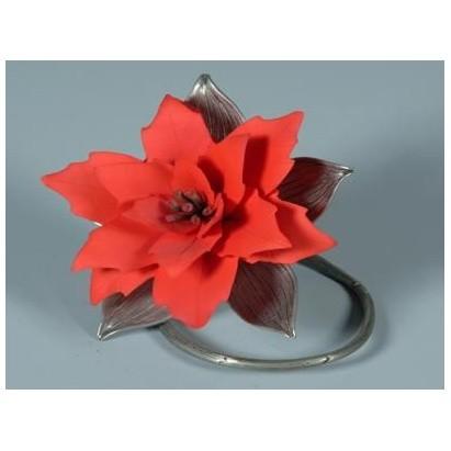 Фарфоровый цветок (с серебром) ПУАНСЕТИЯ
