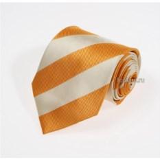 Оранжевый галстук с широкими бежевыми полосами Idea Seta