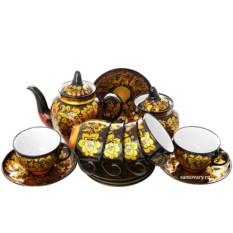Чайный сервиз с росписью Золотая кудрина на черном фоне