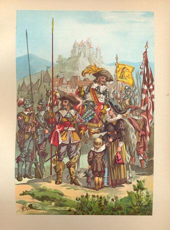 Гравюра «Французский военный костюм XVII-XVIII вв»
