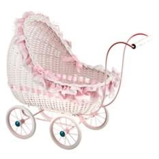 Бело-розовая плетеная коляска для кукол Leiteng Artwares