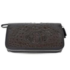 Черный кошелек-клатч на 2-х молниях из кожи крокодила