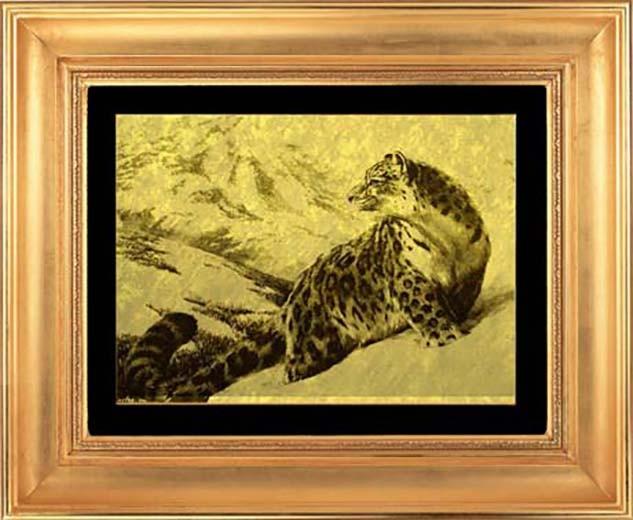 Гравюра из золота Снежный барс