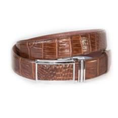 Светло-коричневый мужской ремень из кожи крокодила