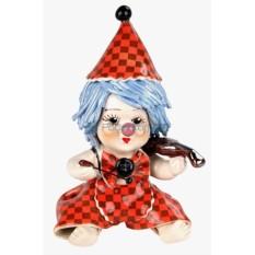 Статуэтка Клоун-мальчик со скрипкой в красном костюме