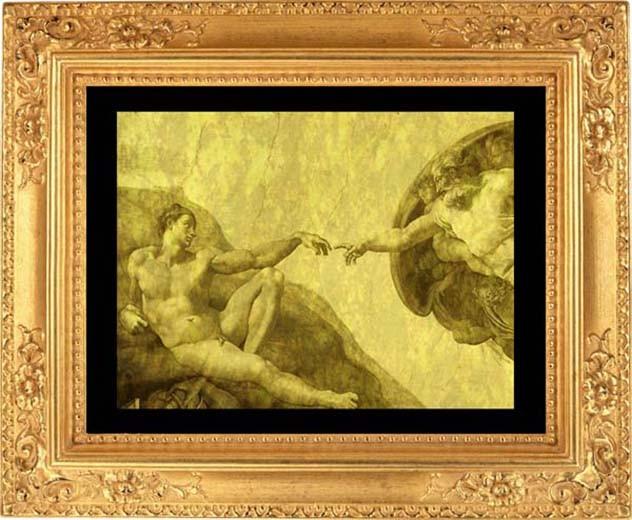 Гравюра из золота Сотворение Адама