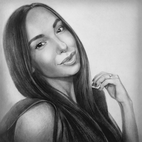 Женский портрет сухой кистью
