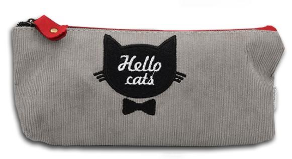 Серый пенал Hello cats