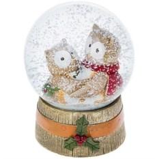Новогодний шар со снегом Озорные совята