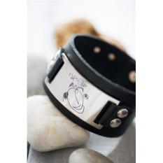 Кожаный браслет для мужчины с рисунком его ребенка