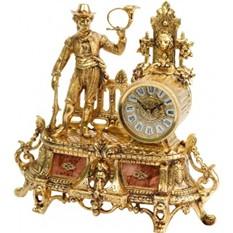 Часы бронзовые каминные Охотник