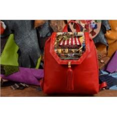 Красный кожаный рюкзак Полосатый зонтик