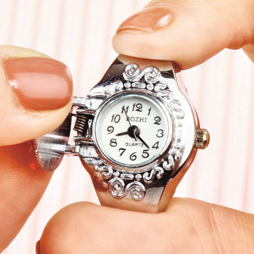 Кольцо-часы с красным цветком