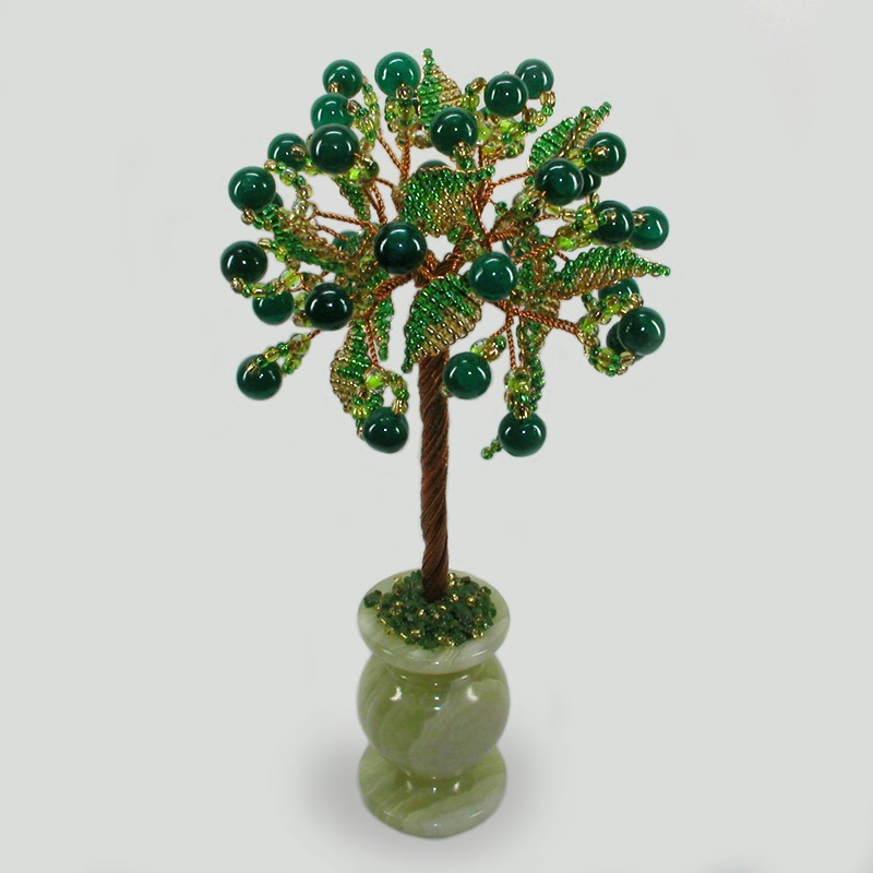 Нефритовое дерево благополучия в вазочке из оникса