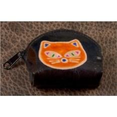 Монетница Socotra (Черный, оранжевый; кот; тип 1; кожа)