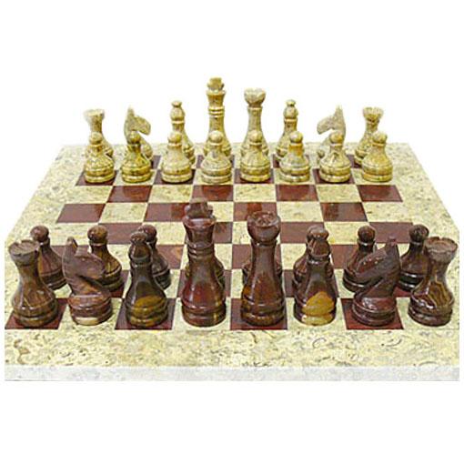 Шахматный набор из яшмы различных оттенков 40х40см