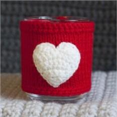 Кружка с вязаным чехлом Сердце