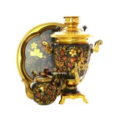 Набор из самовара на 3 литра, подноса и чайника