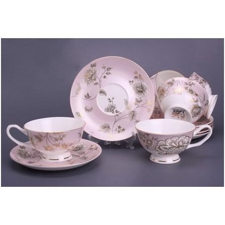 Чайный набор на 6 персон «Цветок на розовом»