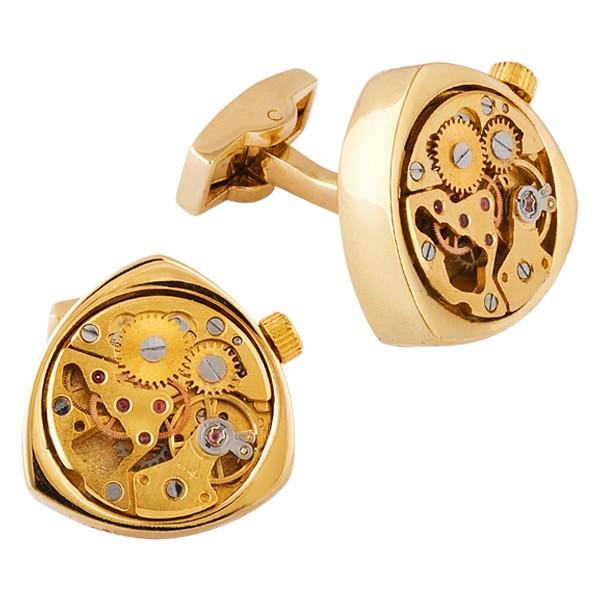 Запонки с часовым механизмом TOURBILLON TRIANGLE GOLD