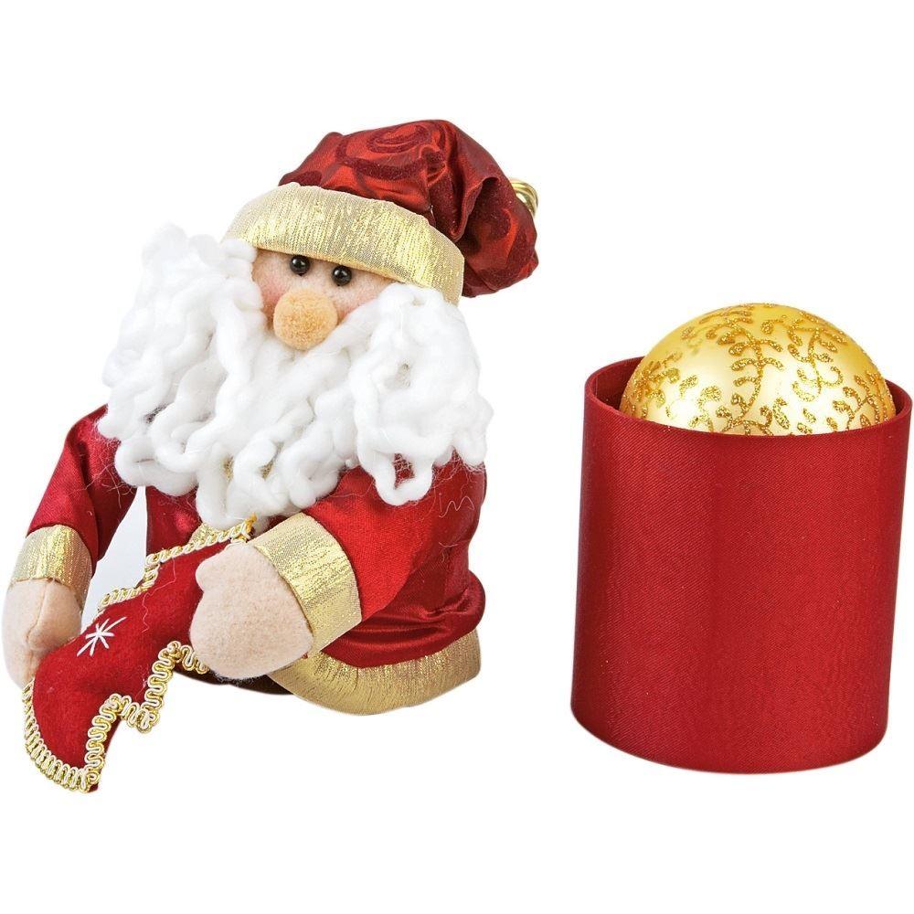 Золотой ёлочный шар в коробке в виде Деда Мороза.