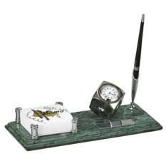 Мраморный настольный набор из держателя для листов и часов