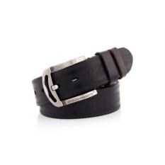 Черный мужской кожаный ремень тип 60-6