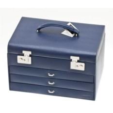 Синяя шкатулка для украшений с выдвижными ящиками Davidt's