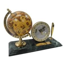 Настольный мраморный набор из ручки, часов и глобуса