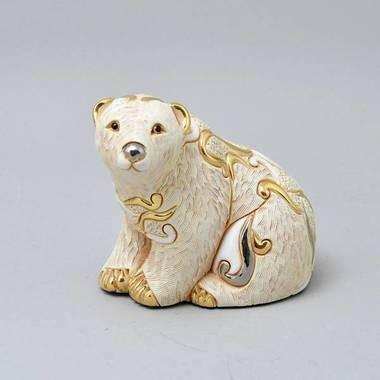 Керамическая статуэтка с позолотой Белый медведь