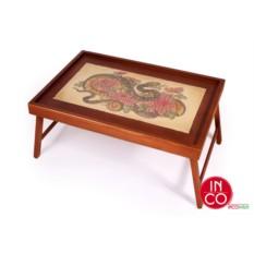 Столик для завтрака в постели Змея с хризантемами