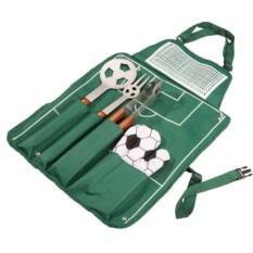 Зеленый фартук с набором для барбекю «Футбол»
