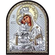 Почаевская икона Божьей Матери в серебряном окладе