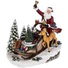 Музыкально-двигающееся украшение Дед Мороз в санях
