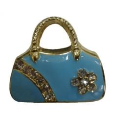 Флешка со стразами Голубая сумочка