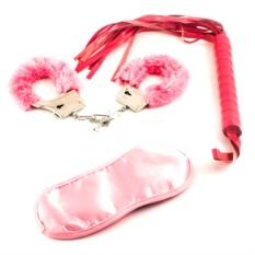 Набор розовых наручников с плеткой