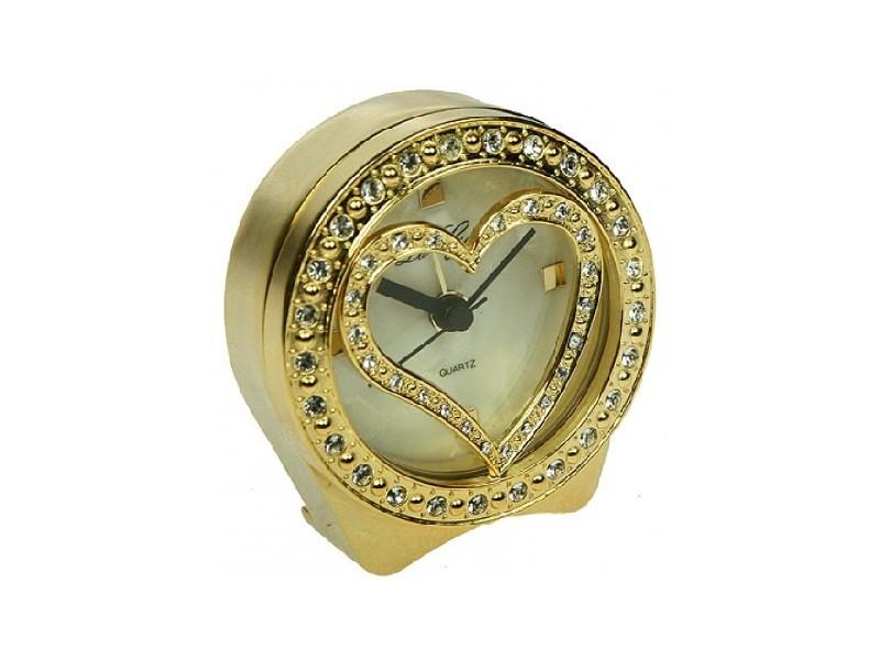 Золотистые настольные часы Сердечко