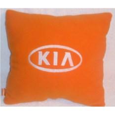 Оранжевая с белой вышивкой подушка Kia